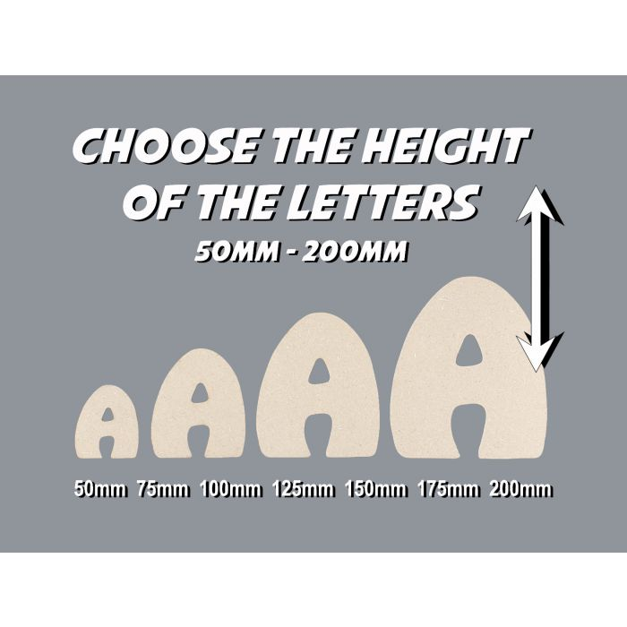 Wooden Letters Decoration Craft Shape Toy Box Name 50-200mm Hobo font #224