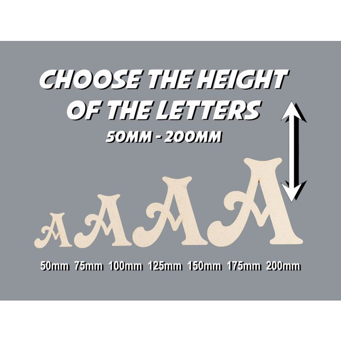Wooden Letters for a Toy Box or Wall Choose from 50-200mm Victorian MDF Letter