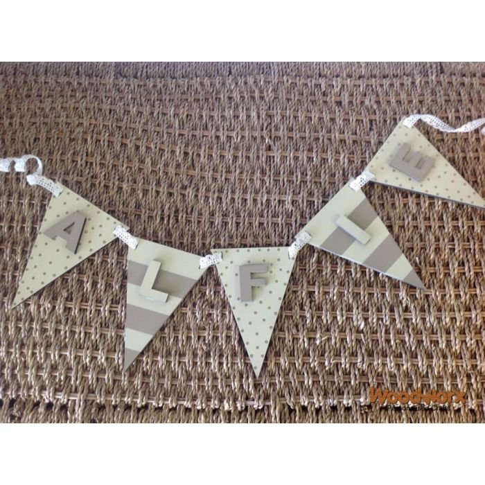 Personalised Bunting Flags Wooden Decorative Painted christening Letters Sign#38