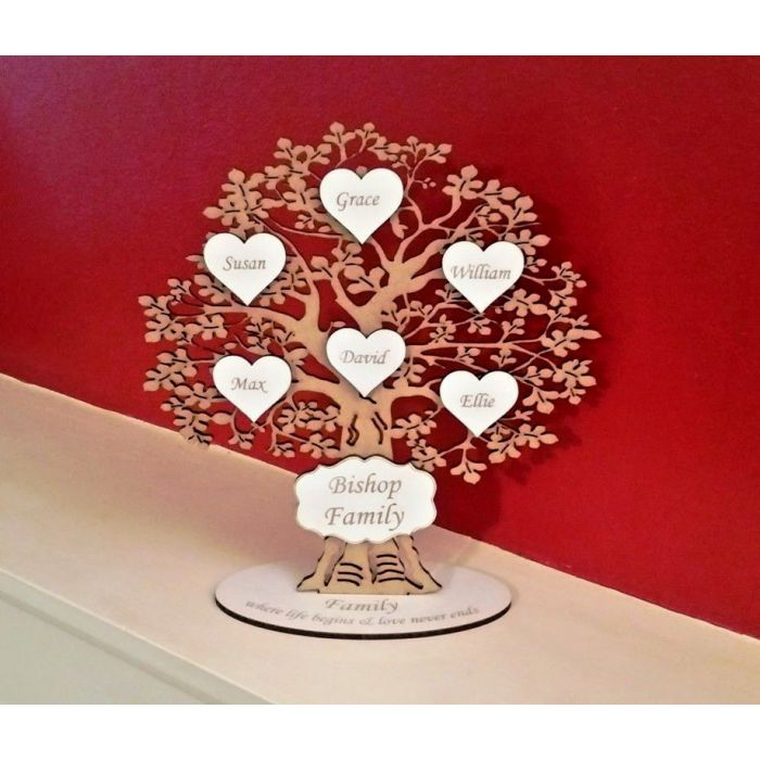 Personalised Wooden Freestanding Family Tree Wedding Gift *FREE Delivery* #13
