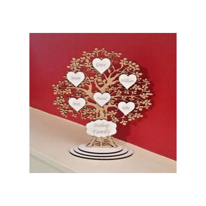 Freestanding Personalised Wooden Family Tree Wedding Gift *FREE Delivery* #15