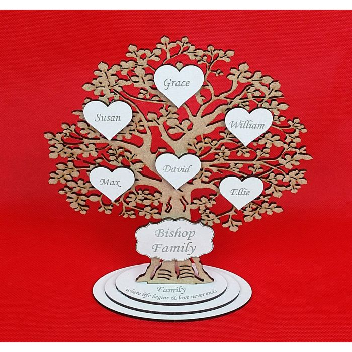 *ADD NAMES* Personalised Wooden Freestanding Family Tree With Upto 12 Hearts #7#
