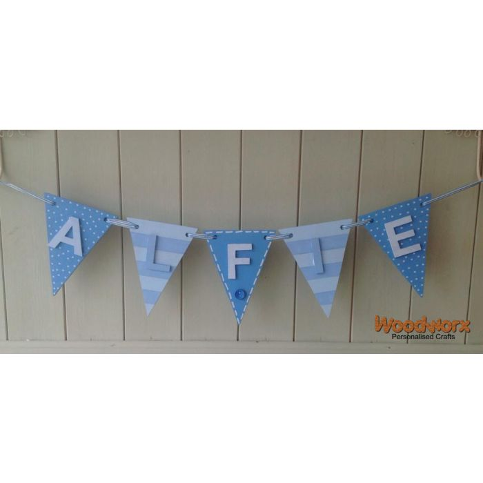 *ANY NAME & ANY COLOUR* Personalised Wooden Bunting Flags With Letters #22#