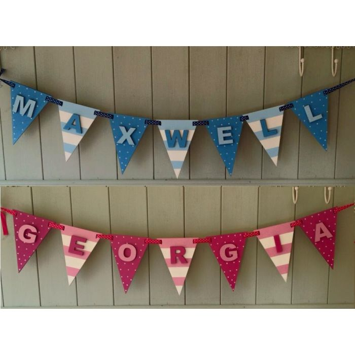 *ANY NAME & COLOUR* Personalised Wooden Bunting Flags Painted with Letters #17#