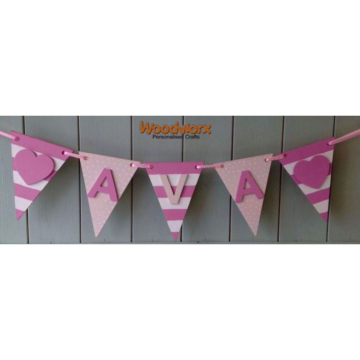 *ANY NAME & COLOUR* Personalised Wooden Bunting Flags Painted with Letters #18#