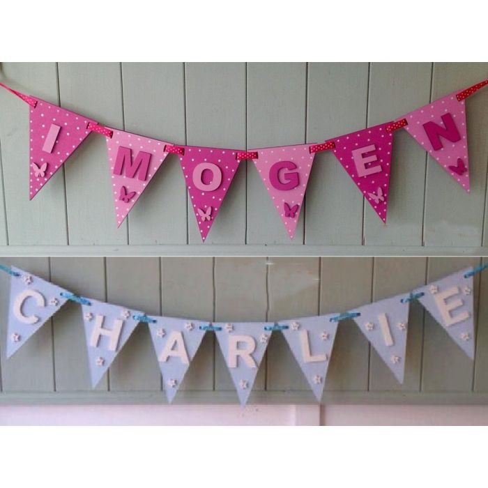 Personalised Bunting Flags Wooden Decorative Painted christening Letters Sign#51