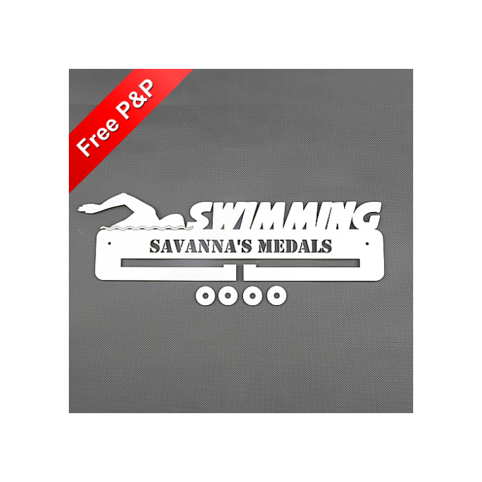 Personalised Medal Holder Swimming - *NOW 6mm PREMIUM MDF - THICKEST ON Ebay