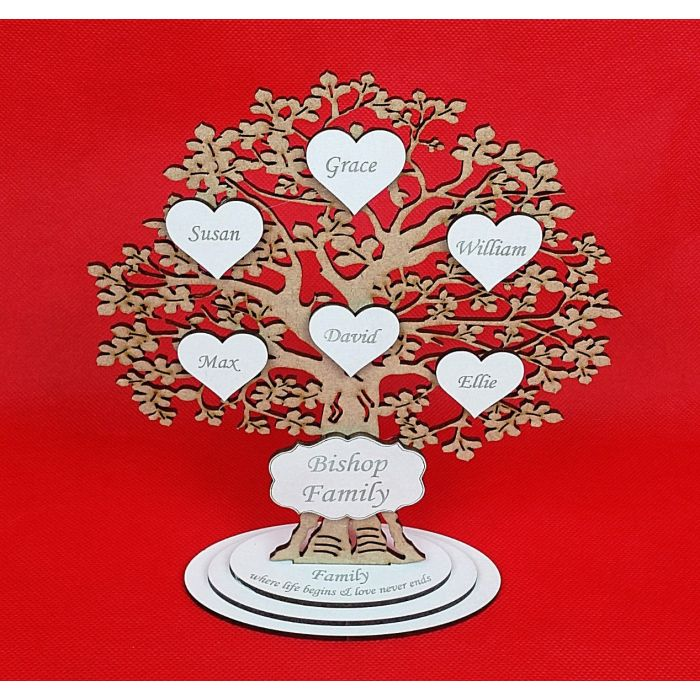 Personalised Wooden Family Tree Freestanding shabby chic wedding Gift Decoration