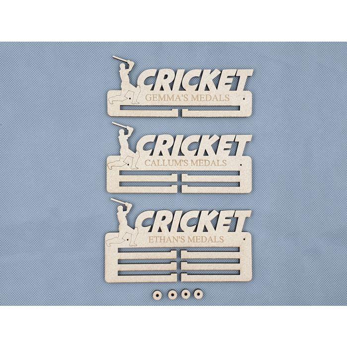 Personalised Medal Holder Cricket - 6mm PREMIUM MDF