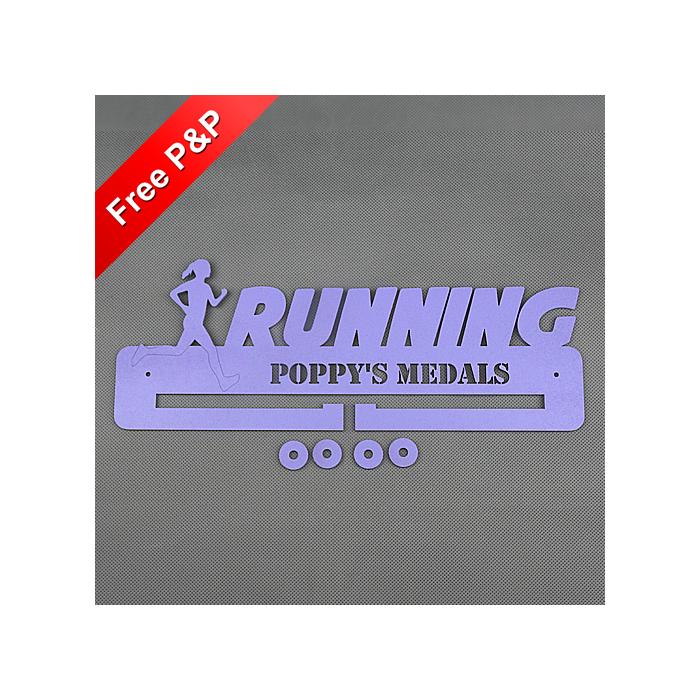 Running (Female) Medal Holder / Hanger / Rack Personalised - 4mm MDF Wooden #14