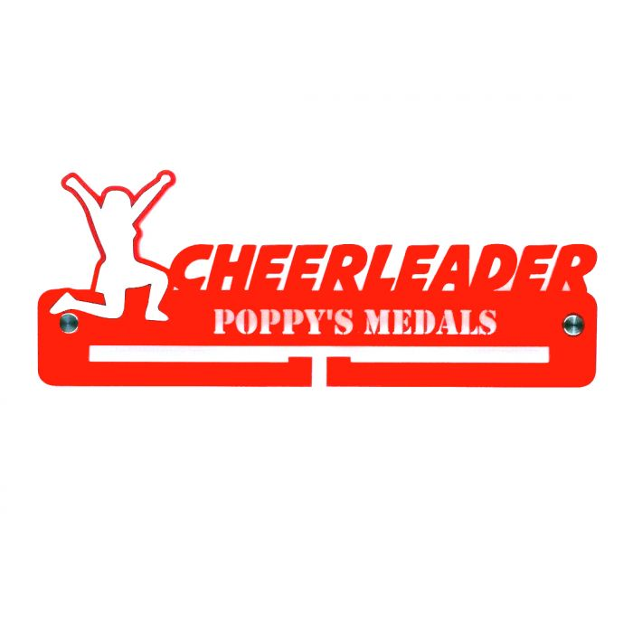 Cheerleader Medal Holder - Hanger - Rack Personalised Thick 5mm Acrylic FREEPOST