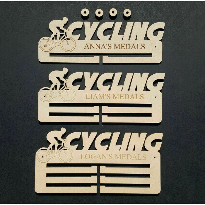 Cycling Medal Holder Display Hanger or Rack Personalised 6mm MDF Wood Free Post