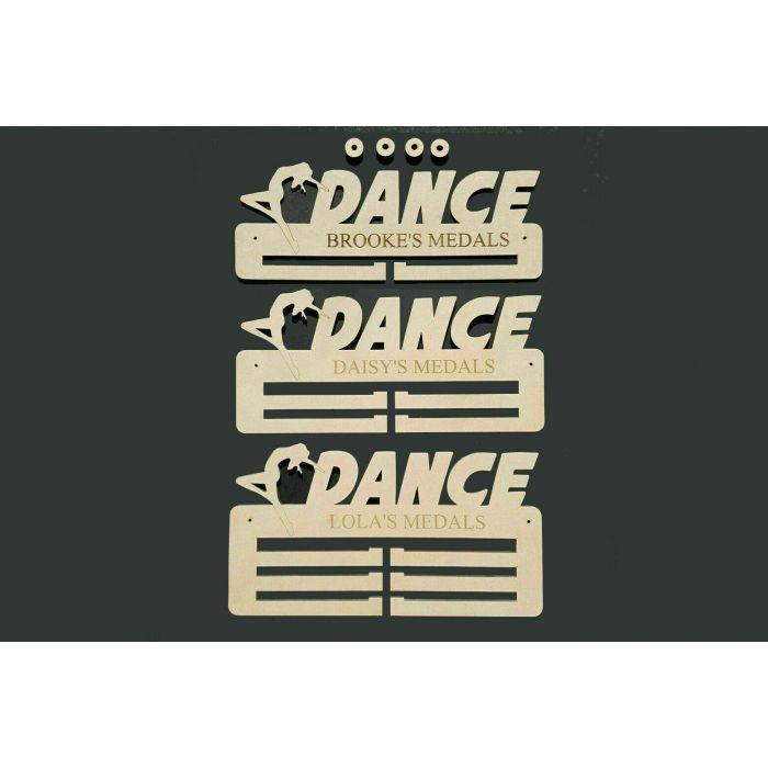 Dance Medal Holder Display Hanger or Rack Personalised 6mm MDF Wood Free Post