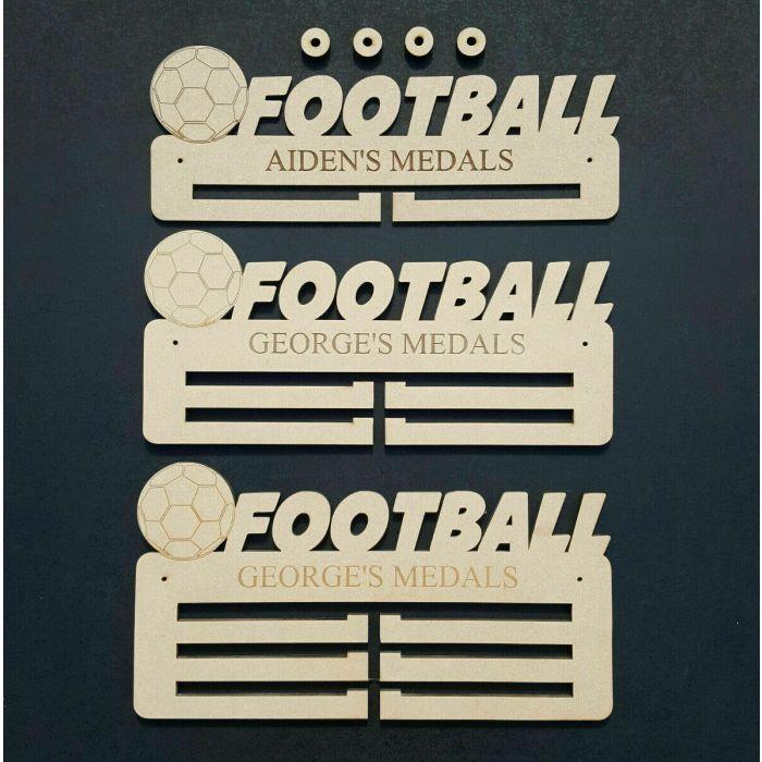 Football Medal Holder Display Hanger or Rack Personalised 6mm MDF Wood Free Post
