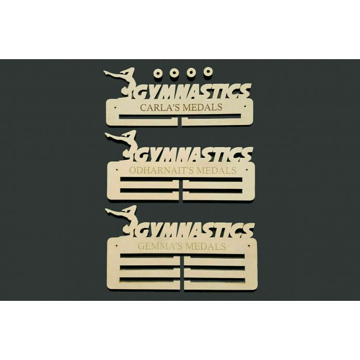Gymnastics Medal Holder Display Hanger or Rack Personalised 6mm MDF Free Post