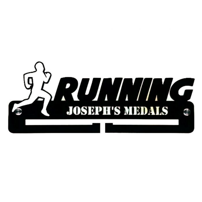 Running Male Medal Holder - Hanger - Personalised Thick 5mm Acrylic FREEPOST