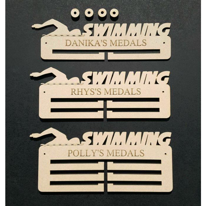 Swimming Medal Holder Display Hanger Personalised 6mm MDF Free Post