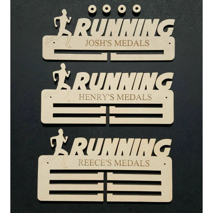 Running (Male) Medal Holder Display Hanger Personalised 6mm Thick
