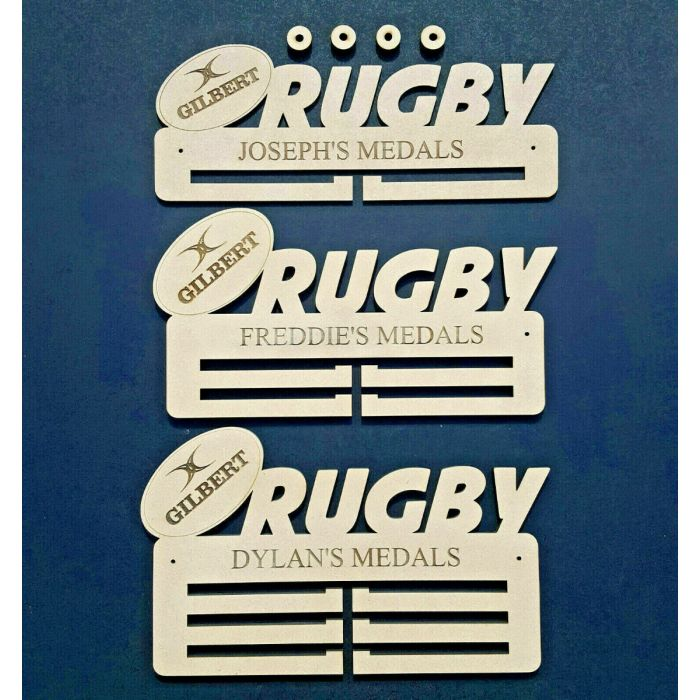 PREMIUM Personalised Rugby Medal Holder Hanger or Rack (ANY NAME) 6mm MDF